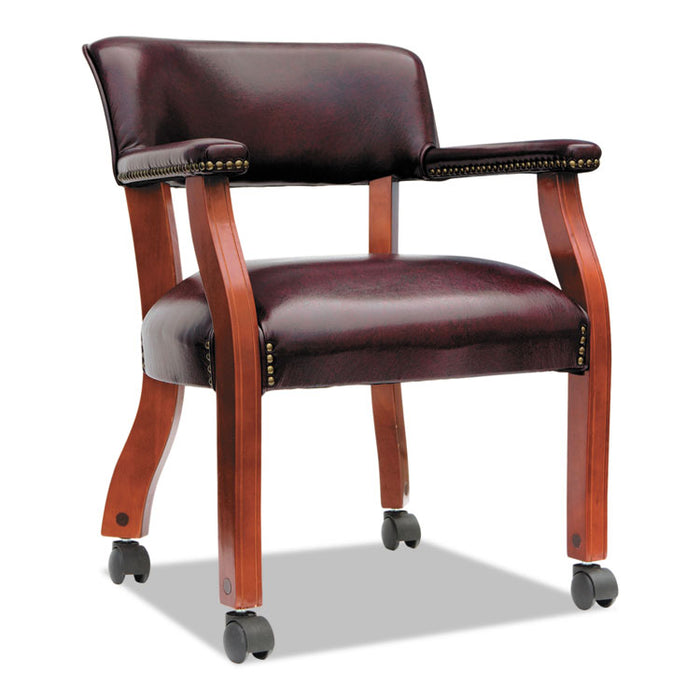 Alera Traditional Series Guest Arm Chair with Casters, 23.22'' x 24.4'' x 29.52'', Oxblood Burgundy Seat/Back, Mahogany Base