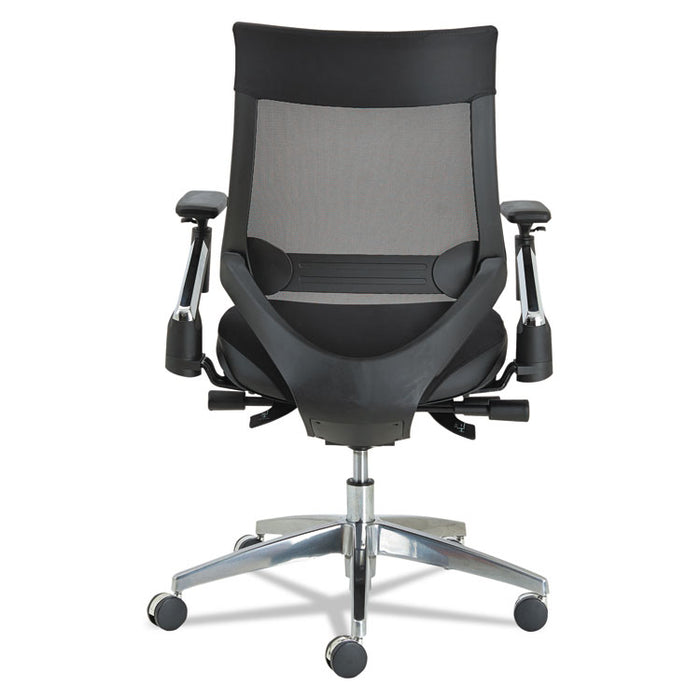 Alera EB-W Series Pivot Arm Multifunction Mesh Chair, Supports up to 275 lbs., Black Seat/Black Back, Aluminum Base