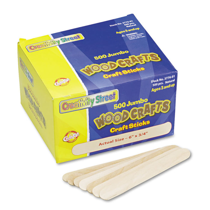 "Natural Wood Craft Sticks, Jumbo Size, 6"" x 0.75"", Wood, Natural, 500/Box"