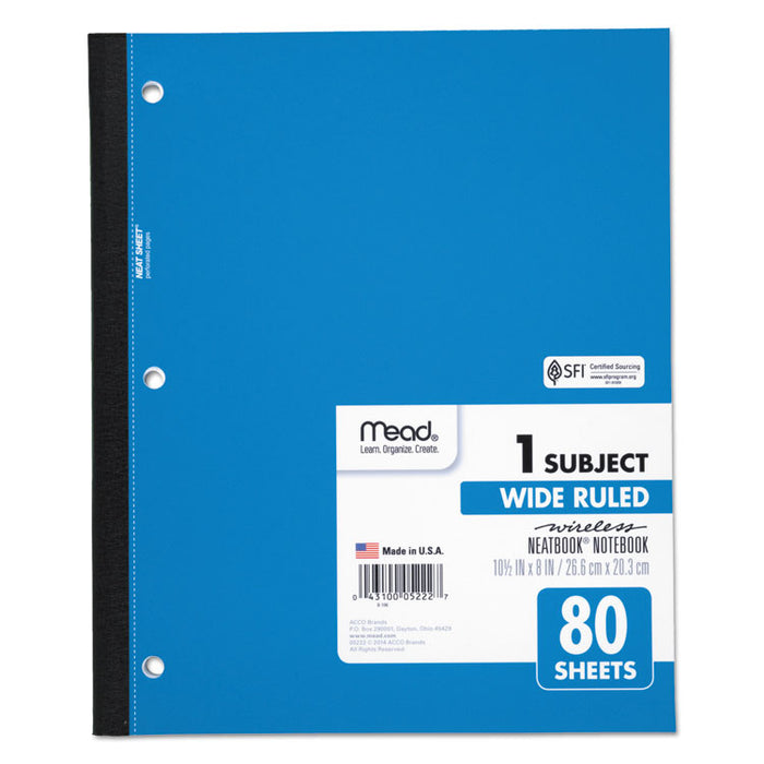Wireless Neatbook Notebook, 1 Subject, Wide/Legal Rule, Assorted Color Covers, 10.5 x 8, 80 Sheets