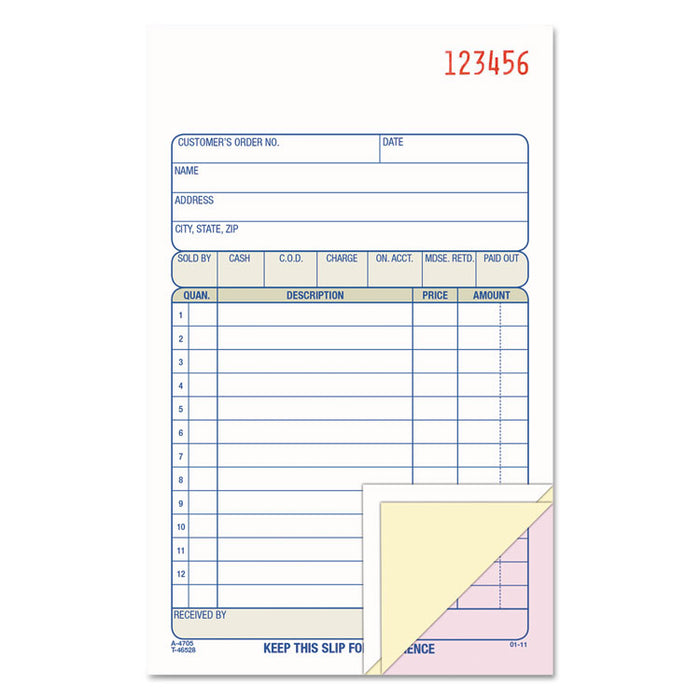 Carbonless Sales Order Book, Three-Part Carbonless, 4-3/16 x 7 3/16, 50 Sheets