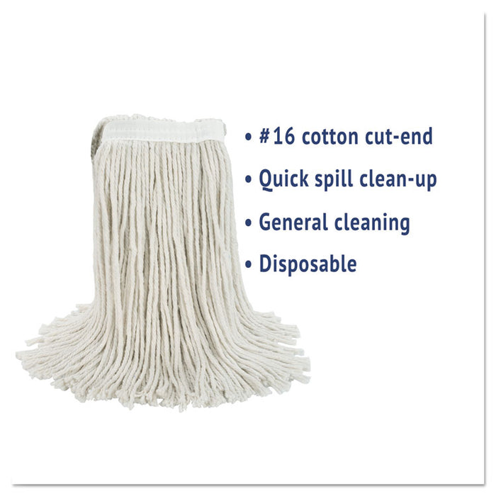 Cut-End Wet Mop Head, Cotton, No. 16 Size, White