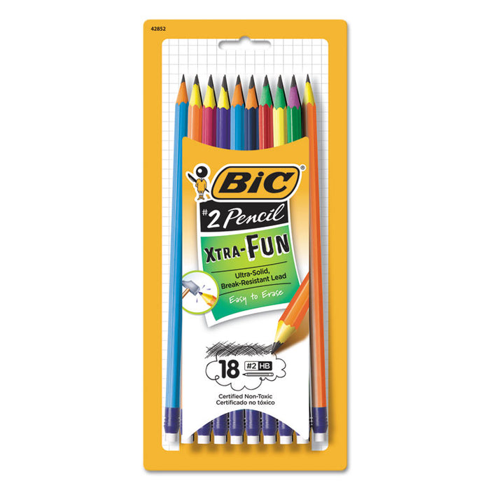 #2 Pencil Xtra Fun, HB (#2), Black Lead, Assorted Barrel Colors, 18/Pack