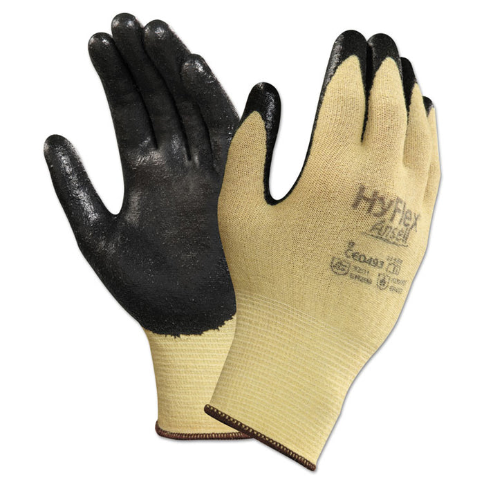 HyFlex CR Gloves, Size 7, Yellow/Black, Kevlar/Nitrile, 24/Pack