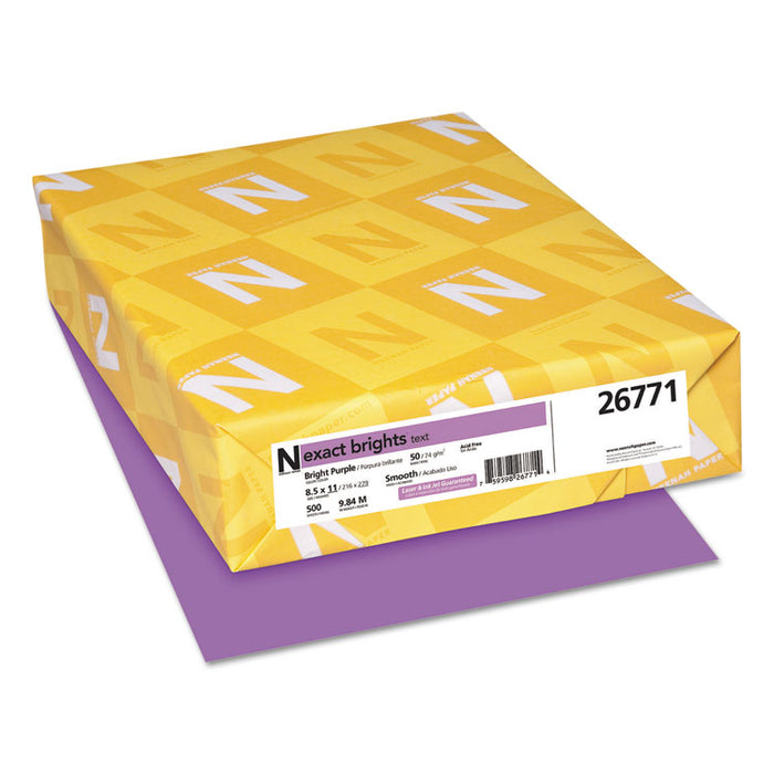 Exact Brights Paper, 20lb, 8.5 x 11, Bright Purple, 500/Ream