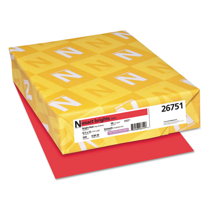 Exact Brights Paper, 20lb, 8.5 x 11, Bright Red, 500/Ream