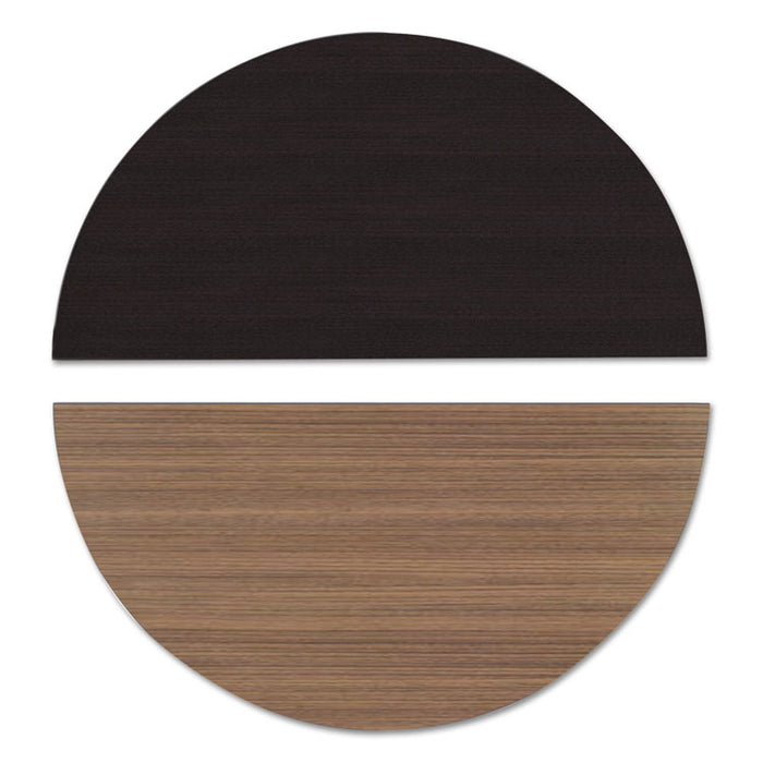 Reversible Laminate Table Top, Half Round, 48w x 24d, Espresso/Walnut