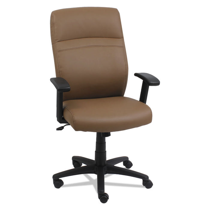 High-Back Swivel/Tilt Leather Chair, Supports up to 275 lbs., Taupe Seat/Taupe Back, Black Base