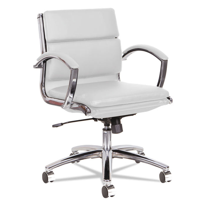 Alera Neratoli Low-Back Slim Profile Chair, Supports up to 275 lbs., White Seat/White Back, Chrome Base