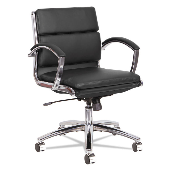 Alera Neratoli Low-Back Slim Profile Chair, Supports up to 275 lbs., Black Seat/Black Back, Chrome Base