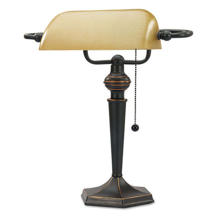 "Traditional Banker's Lamp, 10""w x 13.38""d x 16""h, Antique Bronze"