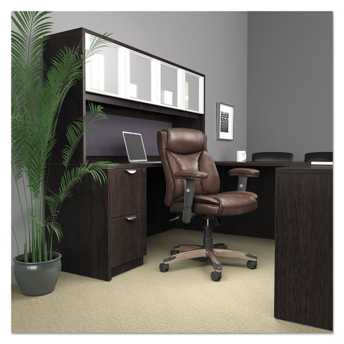 Alera Veon Series Leather Mid-Back Manager's Chair, Supports up to 275 lbs., Brown Seat/Brown Back, Bronze Base