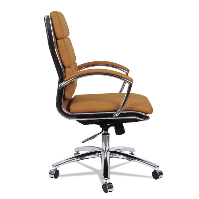Alera Neratoli Mid-Back Slim Profile Chair, Supports up to 275 lbs., Camel Seat/Camel Back, Chrome Base