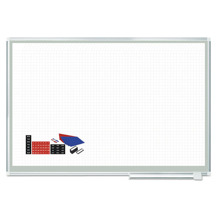 All Purpose Magnetic Planning Board, 1 sq/in Grid, 72 x 48, Aluminum Frame