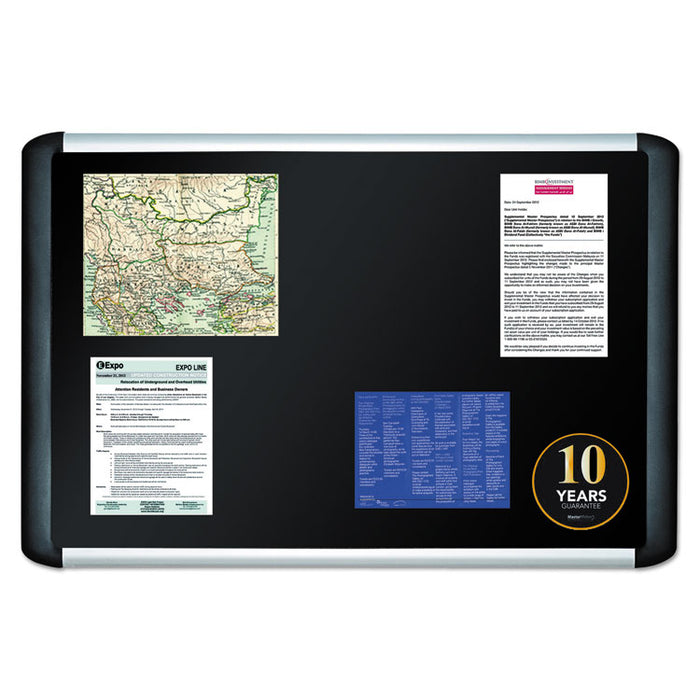 Black fabric bulletin board, 36 x 48, Silver/Black
