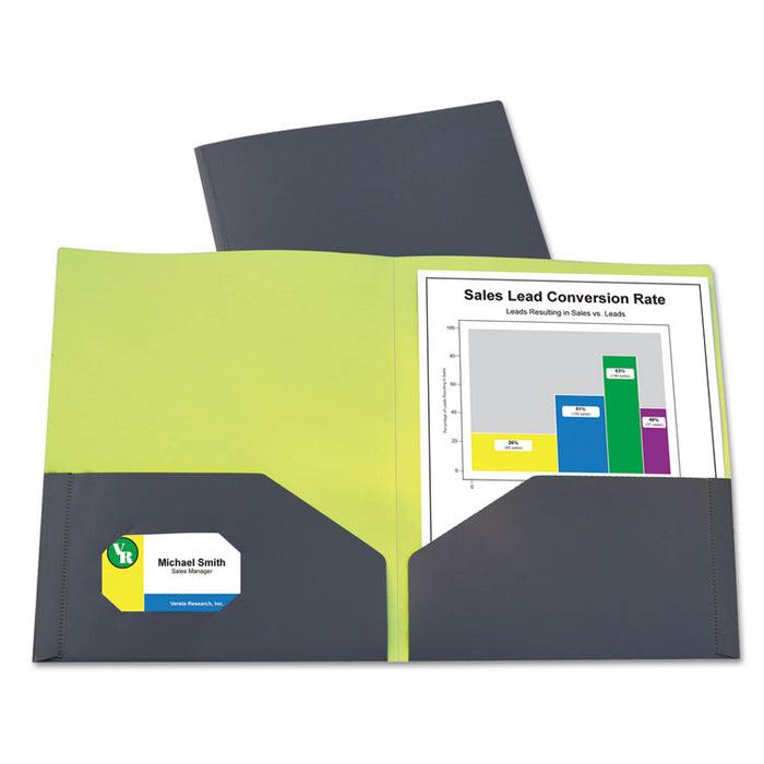 Two-Tone Two-Pocket Super Heavyweight Poly Portfolio, Letter, Gray/Green, 6/Pack