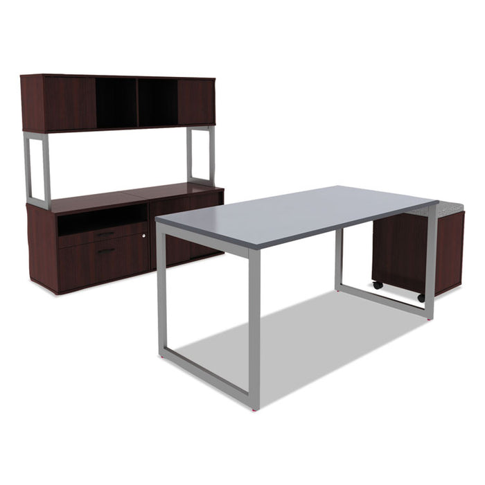 Alera Open Office Desk Series Hutch, 59w x 15d x 36.38h, Mahogany