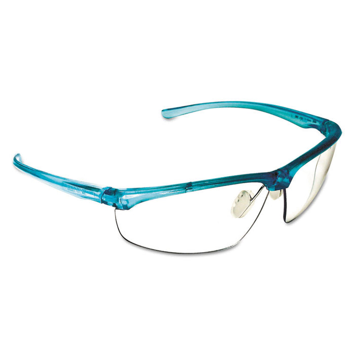 Refine 201 Safety Glasses, Half-frame, Clear AntiFog Lens, Teal Frame