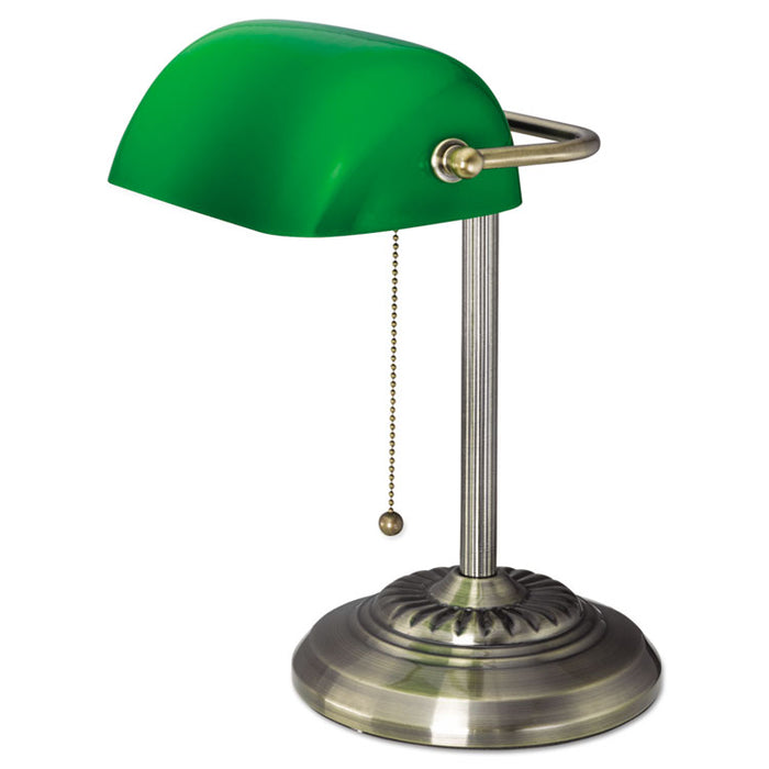 "Traditional Banker's Lamp, Green Glass Shade, 10.5""w x 11""d x 13""h, Antique Brass"
