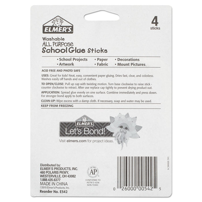 Washable School Glue Sticks, 0.24 oz, Applies and Dries Clear, 4/Pack