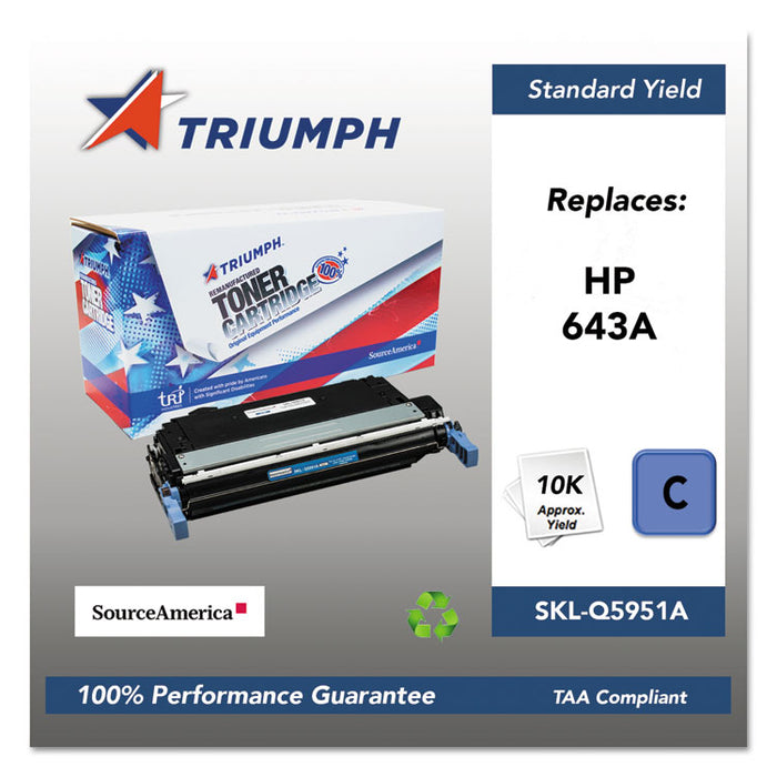 751000NSH0284 Remanufactured Q5951A (643A) Toner, 10000 Page-Yield, Cyan