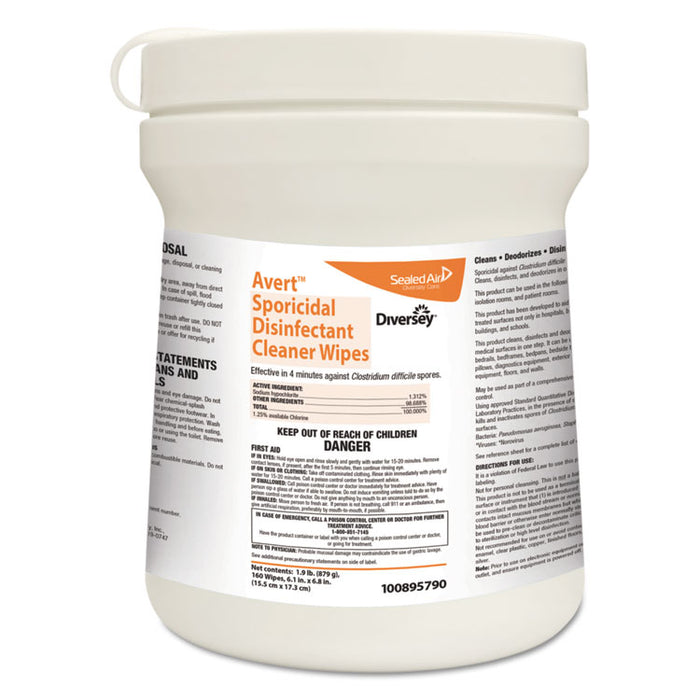 Avert Sporicidal Disinfectant Cleaner Wipes, Chlorine, 6 x 7, 160/Can, 12/Carton