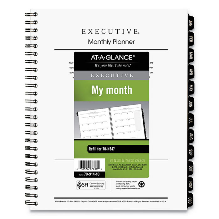 Executive Monthly Planner Refill, 8 3/4 x 6 5/8, White, 2020