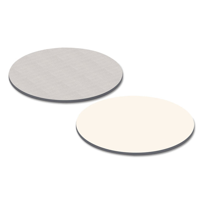 Reversible Laminate Table Top, Round, 35 3/8w x 35 3/8d, White/Gray