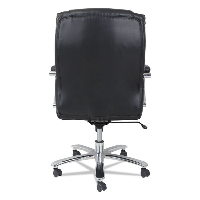 Alera Maxxis Series Big and Tall Leather Chair, Supports up to 450 lbs., Black Seat/Black Back, Chrome Base