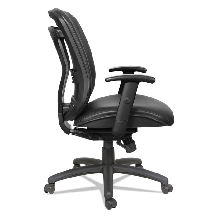 Alera Eon Series Mid-Back Leather Synchro with Seat Slide Chair, Supports up to 275 lbs., Black Seat/Black Back, Black Base