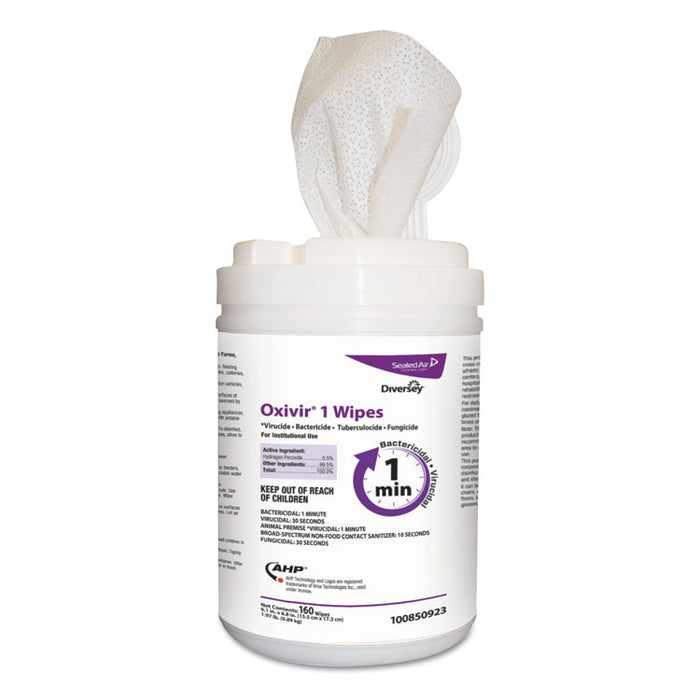 "Oxivir 1 Wipes, 6"" x 7"", 160/Canister, 12/Carton"