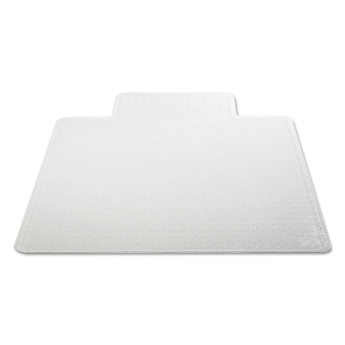 Occasional Use Studded Chair Mat for Flat Pile Carpet, 45 x 53, Wide Lipped, Clear