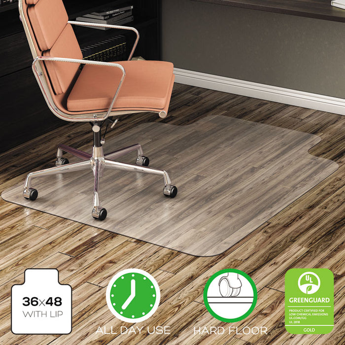All Day Use Non-Studded Chair Mat for Hard Floors, 36 x 48, Lipped, Clear