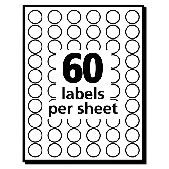 "Handwrite Only Self-Adhesive Removable Round Color-Coding Labels, 0.5"" dia., Light Blue, 60/Sheet, 14 Sheets/Pack"