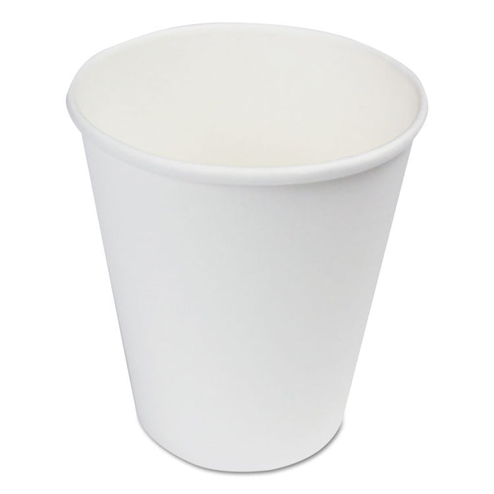 Paper Hot Cups, 8 oz, White, 20 Cups/Sleeve, 50 Sleeves/Carton