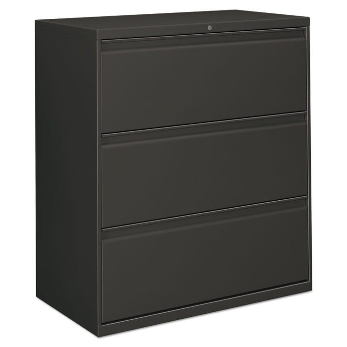 Three-Drawer Lateral File Cabinet, 36w x 18d x 39.5h, Charcoal