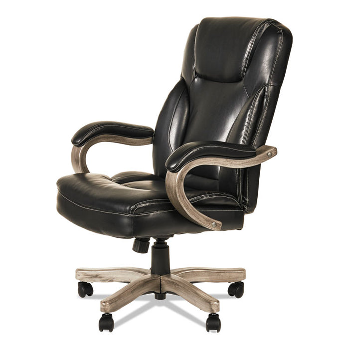 Alera Transitional Series Executive Wood Chair, Supports up to 275 lbs., Black Seat/Black Back, Gray Ash Base