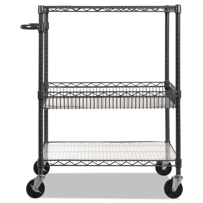 Three-Tier Wire Cart with Basket, 34w x 18d x 40h, Black Anthracite