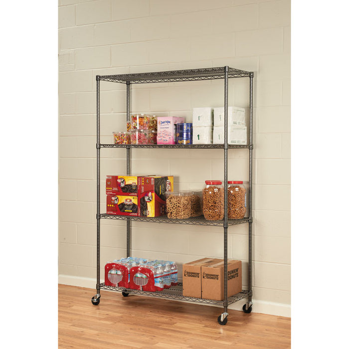 NSF Certified 4-Shelf Wire Shelving Kit with Casters, 48w x 18d x 72h, Black Anthracite