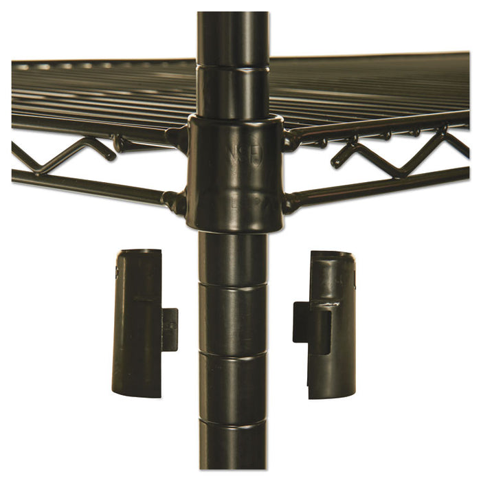 NSF Certified 4-Shelf Wire Shelving Kit with Casters, 48w x 18d x 72h, Black
