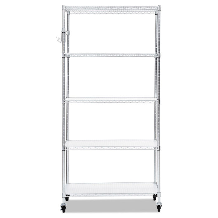 5-Shelf Wire Shelving Kit with Casters and Shelf Liners, 36w x 18d x 72h, Silver