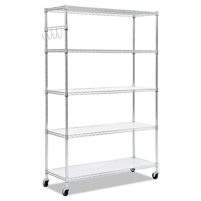 5-Shelf Wire Shelving Kit with Casters and Shelf Liners, 48w x 18d x 72h, Silver