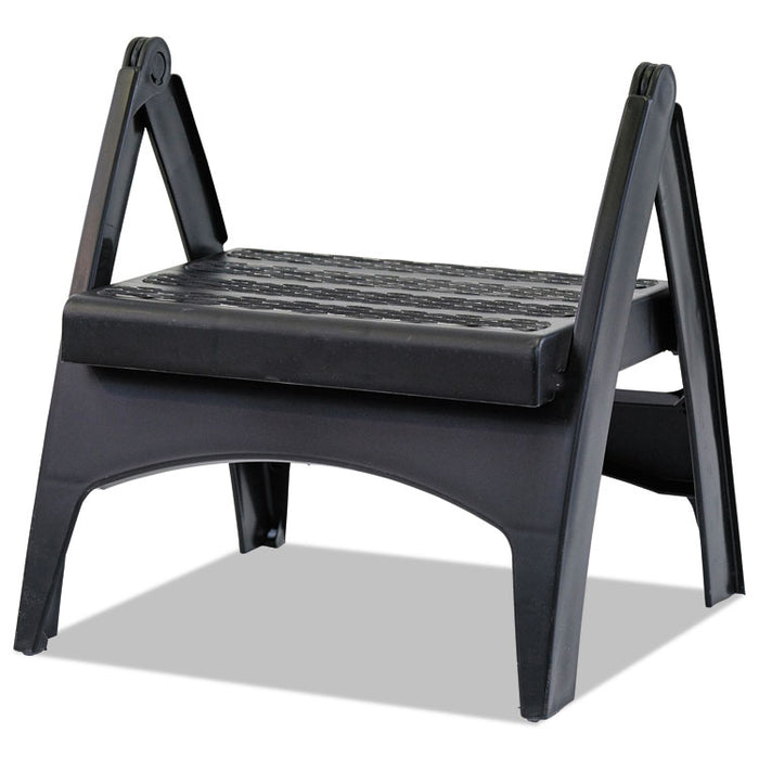 Quik-Fold Plastic Step Stool, 1-Step, Arched Foot Guides, 13 x 13.5 x 12, Black