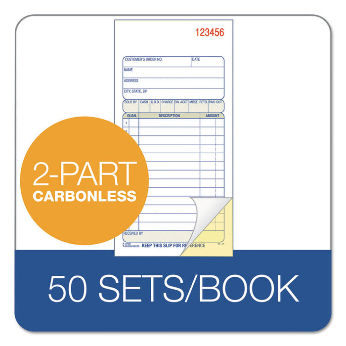 2-Part Sales Book, 3 3/8 x 6 11/16, Carbonless, 50 Sets/Book