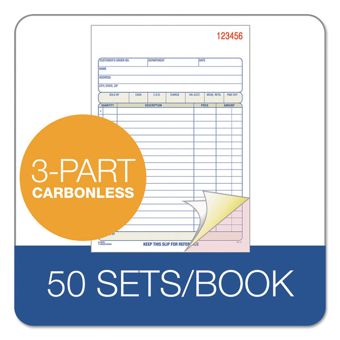 TOPS Sales/Order Book, 7 15/16 x 5 9/16, 3-Part Carbonless, 50 Sets/Book