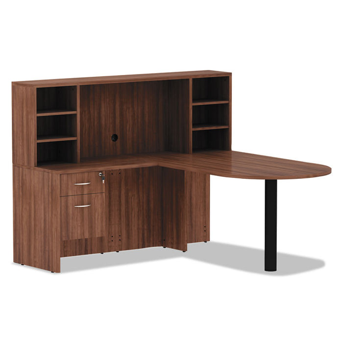 Alera Valencia Series Reversible Return/Bridge Shell, 35w x 23 5/8d x 29 1/2h, Modern Walnut