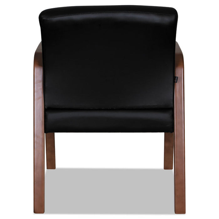 Alera Reception Lounge WL Series Guest Chair, 23.81'' x 25.37'' x 32.67'', Black Seat/Black Back, Walnut Base