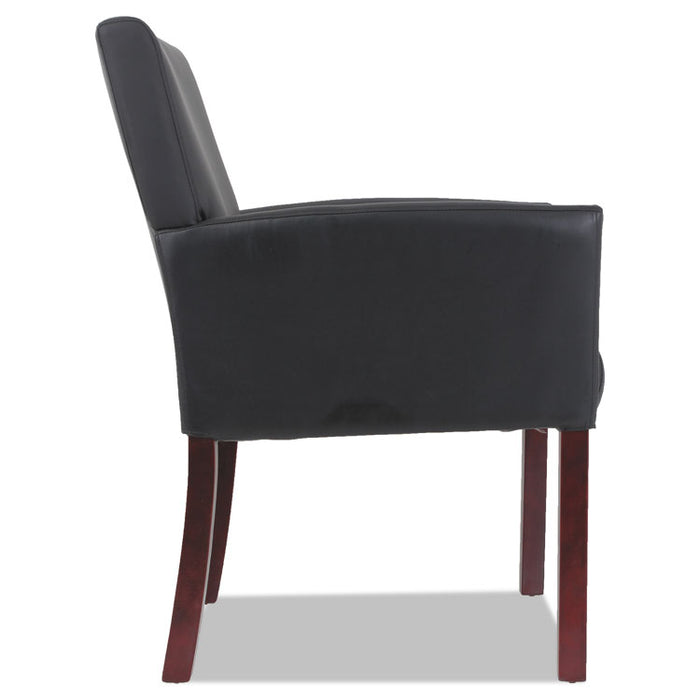 "Alera Reception Lounge 600 Series Guest Chair, 26.13"" x 27.13"" x 34.63"", Black Seat/Black Back, Mahogany Base"
