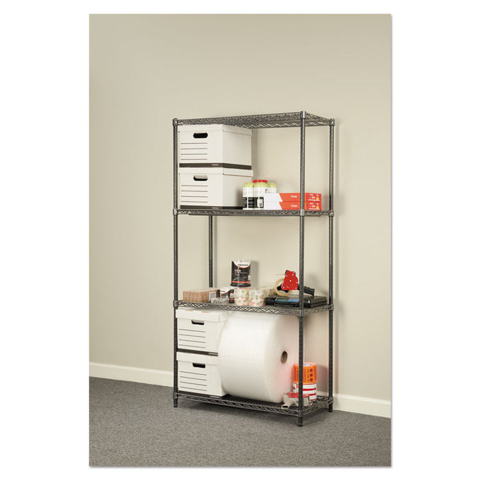Wire Shelving Starter Kit, Four-Shelf, 36w x 18d x 72h, Black Anthracite