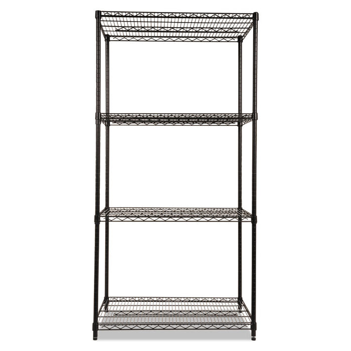 NSF Certified Industrial 4-Shelf Wire Shelving Kit, 36w x 24d x 72h, Black